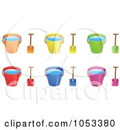 Royalty Free Vector Clip Art Illustration Of A Digital Collage Of Shovels And Beach Buckets With Water by Prawny