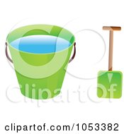 Royalty Free Vector Clip Art Illustration Of A Shovel And Green Beach Bucket With Water by Prawny