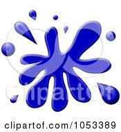 Royalty Free Clip Art Illustration Of A Blue Paint Splatter