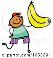 Royalty Free Vector Clip Art Illustration Of A Doodle Boy Holding A Banana by Prawny