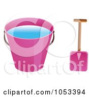 Royalty Free Vector Clip Art Illustration Of A Shovel And Pink Beach Bucket With Water by Prawny