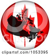 Royalty Free Clip Art Illustration Of A Canadian Flag Globe With A Silhouette Of Canada