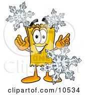 Yellow Admission Ticket Mascot Cartoon Character With Three Snowflakes In Winter