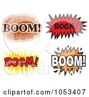 Royalty Free Vector Clip Art Illustration Of A Digital Collage Of Boom Comic Bursts