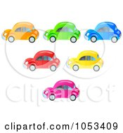 Royalty Free Clip Art Illustration Of A Digital Collage Of Colorful Cars