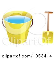 Royalty Free Vector Clip Art Illustration Of A Shovel And Yellow Beach Bucket With Water by Prawny