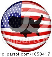 American Flag Globe With A Silhouette Of The USA
