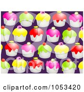 Royalty Free Clip Art Illustration Of A Background Pattern Of Cupcakes by Prawny