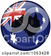 Royalty Free Clip Art Illustration Of An Australian Flag Globe With A Silhouette Of Australia