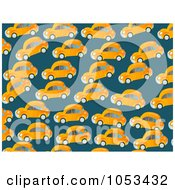 Royalty Free Clip Art Illustration Of A Background Pattern Of Orange Cars