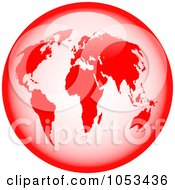 Royalty Free Clip Art Illustration Of A Shiny Red World Globe