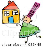 Royalty Free Vector Clip Art Illustration Of A Doodle Girl Holding A House