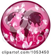 Royalty Free Clip Art Illustration Of A Pink World Globe With Hearts