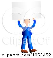 Royalty Free Clip Art Illustration Of A Businessman Holding Up A Blank Sign