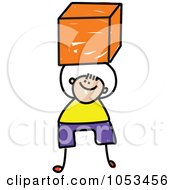 Royalty Free Vector Clip Art Illustration Of A Doodle Boy Holding A Cube