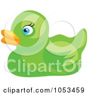 Royalty Free Vector Clip Art Illustration Of A Green Rubber Duck by Prawny