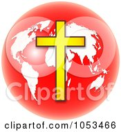 Royalty Free Clip Art Illustration Of A Red And White Christian Globe With A Cross