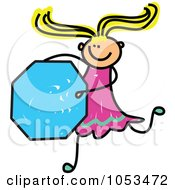 Royalty Free Vector Clip Art Illustration Of A Doodle Girl Holding An Octagon