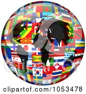 Continents On A Flag Globe