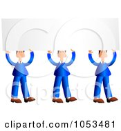 Royalty Free Vector Clip Art Illustration Of Three Businessmen In Blue Suits Holding Up Blank Signs
