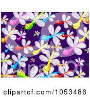 Royalty Free Clip Art Illustration Of A Background Pattern Of Dragonflies by Prawny