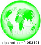 Royalty Free Clip Art Illustration Of A Shiny Lime Green World Globe