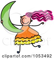 Royalty Free Vector Clip Art Illustration Of A Doodle Girl Carrying A Crescent Moon by Prawny