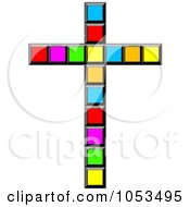 Royalty Free Clip Art Illustration Of A Colorful Pixel Cross