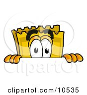 Clipart Picture Of A Yellow Admission Ticket Mascot Cartoon Character Peeking Over A Surface
