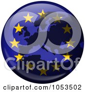 Royalty Free Clip Art Illustration Of A European Flag Globe With A Silhouette Of Europe