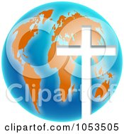 Blue And Orange Christian Globe With A Cross