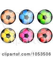 Digital Collage Of Colorful Soccer Balls