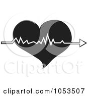 Black And White Heart With A Beat Arrow