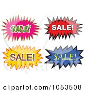 Royalty Free Vector Clip Art Illustration Of A Digital Collage Of Sale Comic Bursts by Prawny