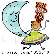 Royalty Free Vector Clip Art Illustration Of A Doodle Girl Holding A Crescent Moon by Prawny