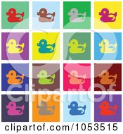 Royalty Free Clip Art Illustration Of A Background Of Colorful Duck Tiles by Prawny