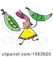 Royalty Free Vector Clip Art Illustration Of A Doodle Girl Holding Peas