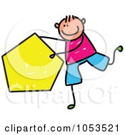 Royalty Free Vector Clip Art Illustration Of A Doodle Boy Holding A Pentagon by Prawny