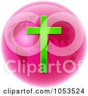 Pink Christian Globe With A Cross