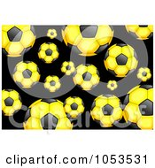 Background Pattern Of Yellow Soccer Balls