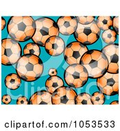 Background Pattern Of Orange Soccer Balls On Blue