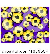 Background Pattern Of Yellow Soccer Balls On Purple