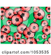 Background Pattern Of Red Soccer Balls On Green