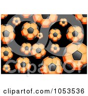 Royalty Free Clip Art Illustration Of A Background Pattern Of Orange Soccer Balls by Prawny