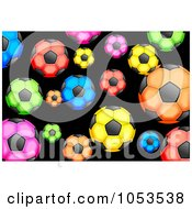 Background Pattern Of Colorful Soccer Balls