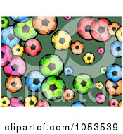 Background Pattern Of Colorful Soccer Balls On Green