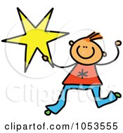 Royalty Free Clip Art Illustration Of A Doodle Boy Holding A Star