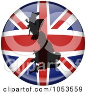 Royalty Free Clip Art Illustration Of A UK Flag Globe With A Silhouette Of The United Kingdom by Prawny
