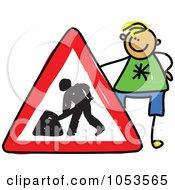 Royalty Free Clip Art Illustration Of A Doodle Boy Holding A Dig Sign
