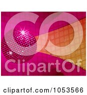 Royalty Free Vector Clip Art Illustration Of A 3d Pink And Orage Disco Ball Background by elaineitalia